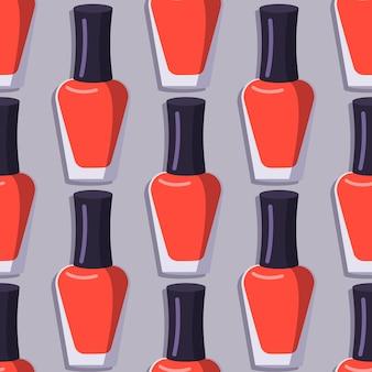 Wzór z butelką czerwonego lakieru do paznokci.