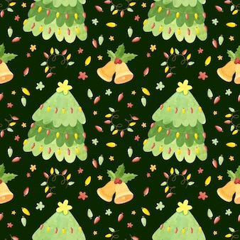 Wzór z choinki jingle bells liście ostrokrzewu i girlandy holiday