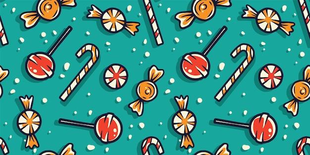 Wzór z cukierkami na wakacje halloween lub nowy rok październikowy plakat transparent