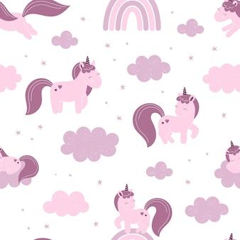 Wzór z cute jednorożce bajki, gwiazdy. wystrój do pokoju dziecinnego, tapety, nadruk na ubrania.