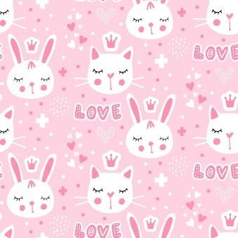Wzór z cute króliczek księżniczki.