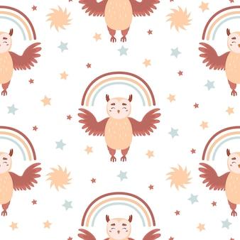 Wzór z cute sowa dla dzieci. ilustracja wektorowa na plakaty przedszkola, wzory, tapety.