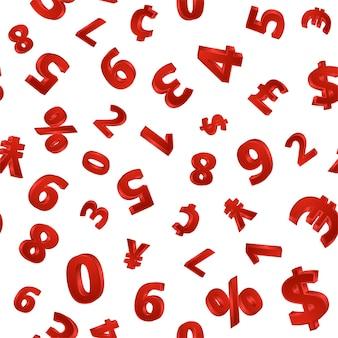 Wzór z cyframi wolumetrycznymi w kolorze czerwonym na białym tle do druku na papierze, tekstyliach. ilustracja wektorowa.