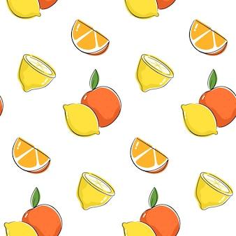Wzór z cytryną, limonką i pomarańczą. bezszwowa konstrukcja z rysunkiem cytrusów