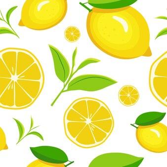 Wzór z cytrynami w stylu cartoon