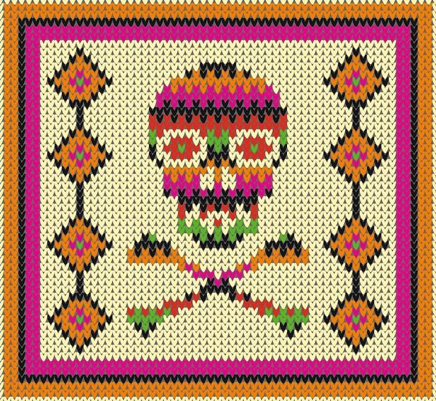 Wzór z czaszką i etnicznymi meksykańskimi elementami oraz latynoamerykańskimi ornamentami na dzień zmarłych