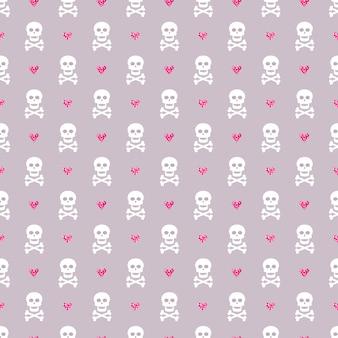 Wzór z czaszkami i błyszczącymi sercami.