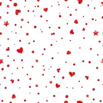 Wzór z czerwone serca i konfetti