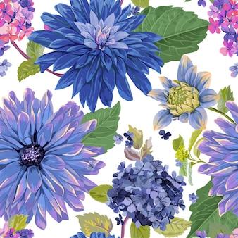 Wzór z czerwonymi kwiatami astry. kwiatowe tło dla tkanin tekstylnych, tapet, owijania. projekt akwarela kwiaty. ilustracja wektorowa