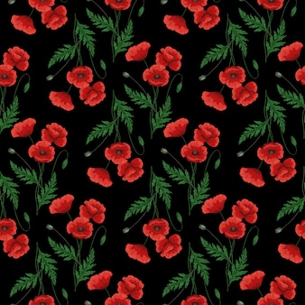 Wzór z czerwonymi kwiatami maku. papawer. zielone łodygi i liście. ręcznie rysowane ilustracji wektorowych. na czarnym tle.