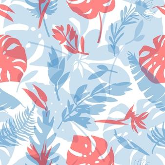 Wzór z delikatnymi tropikalnymi kwiatami i liśćmi modne bezszwowe tekstury dla tkanin