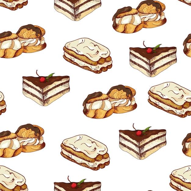 Wzór z deserami. ręcznie rysowane naleśniki i bułki. ilustracja wektorowa dla swojego projektu.