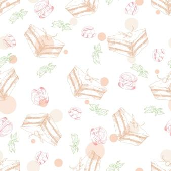 Wzór z deserami. ręcznie rysowane sacher, profiteroles. ilustracja wektorowa dla swojego projektu.