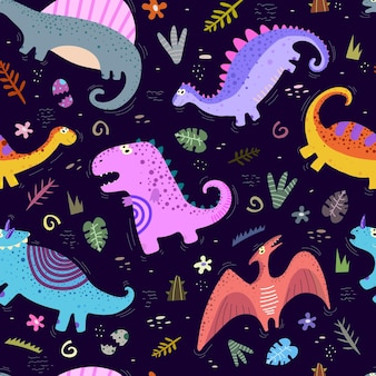 Wzór z dinozaurami kreskówek