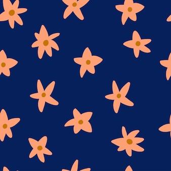 Wzór z doodle abstrakcyjne kwiaty o różnych kształtach ilustracja na ciemnym tle