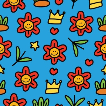 Wzór Z Doodle Kreskówka Kwiat Premium Wektorów