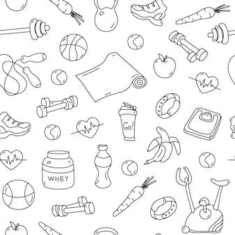 Wzór z doodles fitness na białym tle