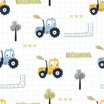 Wzór z drzew ciągnika i drogi na tle w kratkę ilustracja wektorowa
