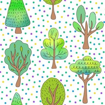 Wzór z drzew i kropek na białym tle.