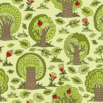 Wzór z drzew i kwiatów. ilustracja, która może służyć jako tapeta lub papier pakowy