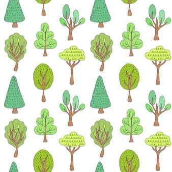 Wzór z drzew na białym tle.