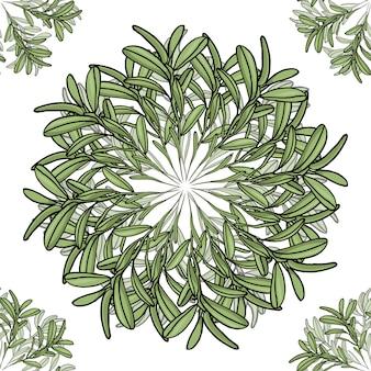 Wzór z dużymi i małymi mandalami gałązek oliwnych