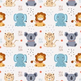 Wzór z dzikich zwierząt dla dzieci