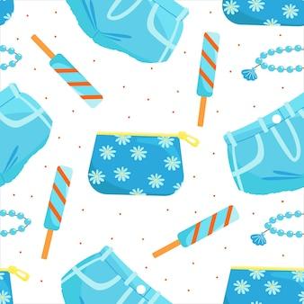 Wzór z dżinsowymi spodenkami kosmetycznymi i ilustracją wektorową lodów
