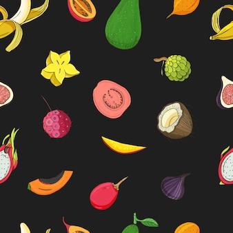 Wzór z egzotycznymi owocami tropikalnymi.