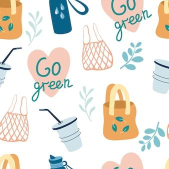 Wzór z ekologicznymi przedmiotami. torby tekstylne i papierowe, kubki. zero odpadów w tle.