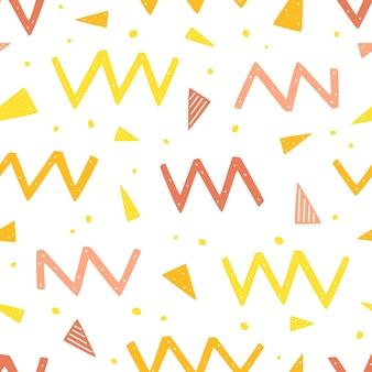 Wzór z elementami geometrycznymi zygzakowate kropki, linie i trójkąty