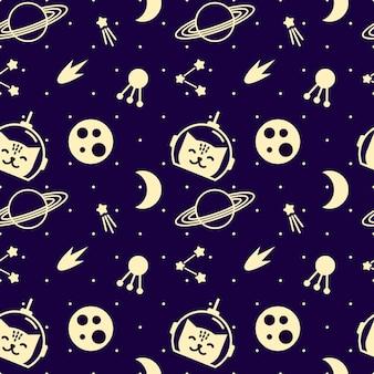 Wzór z elementami kosmicznymi i kotami