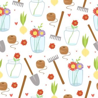 Wzór z elementami ogrodniczymi