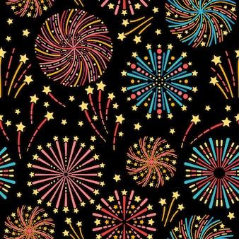 Wzór z fajerwerkami w nocy. na przyjęcie urodzinowe