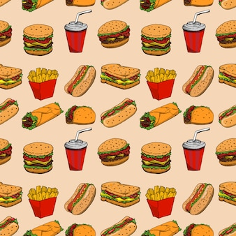 Wzór z fast foodów. hamburger, hot dog, burrito, kanapka. element plakatu, papier pakowy. ilustracja