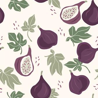 Wzór z figami. modne ręcznie rysowane tekstury.
