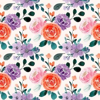 Wzór z fioletową pomarańczową akwarelą kwiatowy