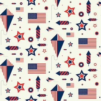 Wzór z flagą usa, latawcem i fajerwerkami. tekstura z amerykańskimi symbolami w stylu płaski.