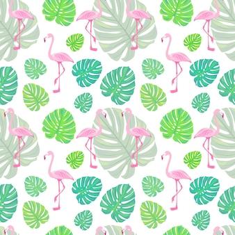 Wzór z flamingami i tropikalnymi liśćmi monstery i egzotycznymi ptakami wektor