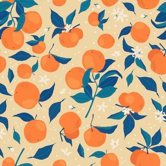 Wzór z gałęzi pomarańczy, kwiatów i pąków na beżu.