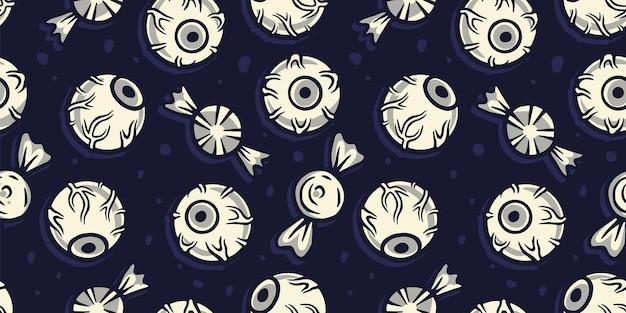 Wzór z gałką oczną lub oczami na halloween wakacje projekt październikowy plakat banerowy