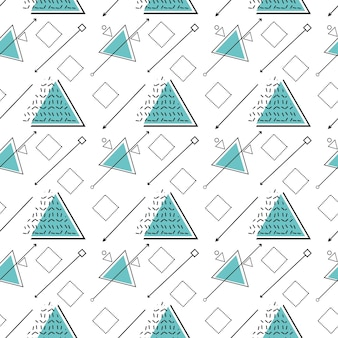Wzór z geometrycznymi kanciastymi kształtami o różnych fakturach w stylu memphis.