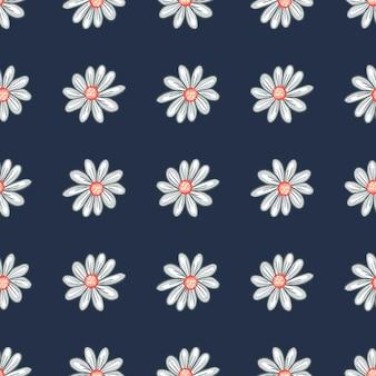 Wzór z geometrycznymi sylwetkami kwiatów stokrotka. granatowe tło. nadruk natury. projekt wektorowy tekstyliów, tkanin, opakowań na prezenty, tapet