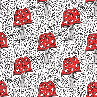 Wzór z grzybami zentangle amanita. tekstura trójkąt tło wektor.