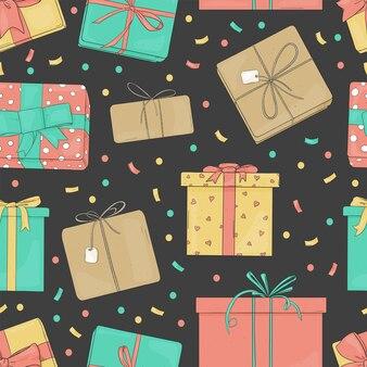 Wzór z handdrawn pudełkami prezentowymi na ciemnym tle