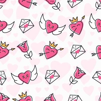 Wzór z ikoną słodkie miłości