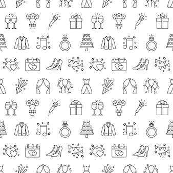 Wzór z ikonami ślubu. ślub tło, ilustracji wektorowych