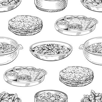 Wzór z indyjskich posiłków. thali, sabji, chapati, dhal, tikka masala.