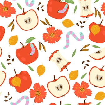 Wzór z jabłkami i robakami na białym tle.