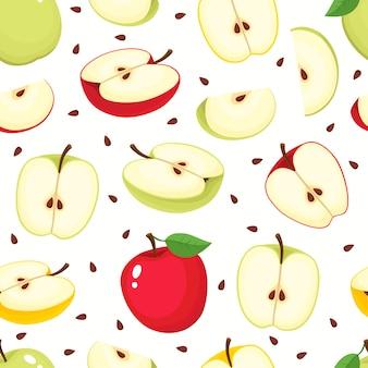 Wzór z jabłkami kreskówka na białym tle